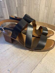 Franco Sarto 11Wide Asymmetrical Ankle Strap Sandals Block Heel Black A350329