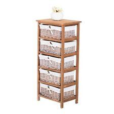 Homcom armario mimbre mueble madera 5 Cajon cesta almacenamiento 40x29x90cm