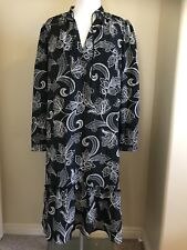 Joe Fresh Black & White Floral Boho Mullet Dress Sz Large Skirt Detail
