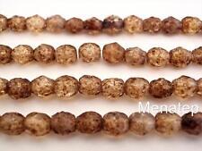 25  6 mm Czech Glass Firepolish Beads: Crystal - Stone Picasso