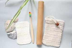 Eco Bathroom Set Bamboo ToothBrush + Case Soap Saver Bag & Loofah Sponge Gift