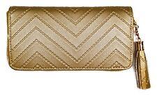 Gold Womens Faux Leather Zip around Tassel Wallet Long Clutch