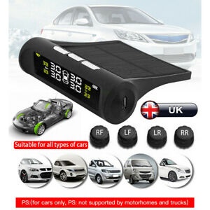 4 Solar Sensors Wireless TPMS Real-time Car Tire Tyre Pressure Monitoring System