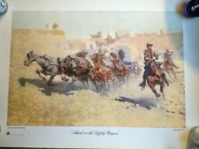 """""""Attack On The Supply Wagons"""" Frederic Remington Vintage Lithograph Print"""