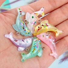 10X Resin Mixed Color 3D Glitter Dolphin Charm Pendant DIY Jewelry Making Craft