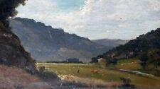"""Ancien tableau huile sur carton """" paysage de montagne """" époque fin XIXe"""