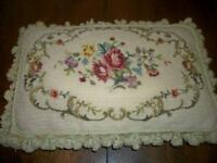 FRENCH SCROLL AUBUSSON PETITPOINT NEEDLEPOINT ROSES FEATHER PILLOW HUGE VINTAGE