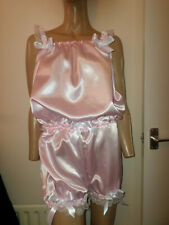 ADULT BABY SISSY PINK  SATIN PLAY SLEEPSUIT BOWS 30-45  WAIST WHITE LACE