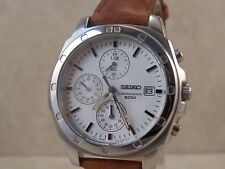 Men's Seiko Chronograph 7T92-0CA0 50m Stainless Steel White Dial Watch with Date