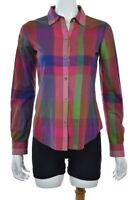 Theory Womens Top Size S Pink Purple Plaid Blouse Long Sleeve Button Down Shirt