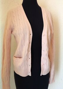 BROOKS BROTHERS WOMENS CARDIGAN, CASHMERE & WOOL BLEND CABLE KNIT PINK SZ S