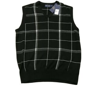 NWT $188 Polo Ralph Lauren Vest Golf The Biltmore Black V-Neck Size L or XL