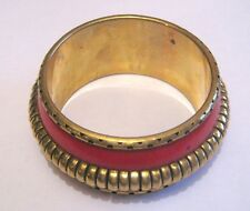 Great statement style chunky bangle style bracelet gold tone metal and red style