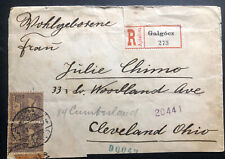 1902 Galgocz Hungary Registered Cover To Cleveland OH USA