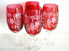 AJKA HUNGARY MARSALA CRANBERRY CASED CUT TO CLEAR CRYSTAL ICED BEVERAGE Set of 4