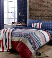 SINGLE AMERICAN STARS AND STRIPES RED WHITE AN BLUE COTTON DUVET SET QUILT COVER