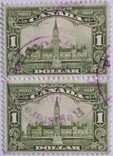 1929 CANADA #159: Used VF Pair of 'Parliament Building' - Reg'd Calgary AB pstmk