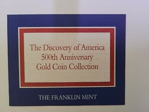 BVI Discovery of America 500th Anniversary Gold Coin Set Certificate only