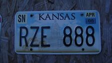 2005 KANSAS LICENSE PLATE # RZE 888  LIKE 8'S?