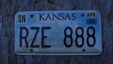 2005 KANSAS LICENSE PLATE # RZE 888  LIKE 8'S?