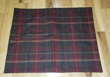 Ralph Lauren vtg. Pillowcase 100% wool madras plaid Red green Standard PERFECT!