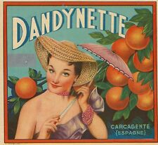 "VINTAGE ORIGINAL 1930 SOUVENIR ""DANDYNETTE"" VALENCIA SPAIN ORANGE BOX LABEL ART"