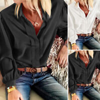 Damen Kragen Hemd Bluse Long Arm Plain Lässig Satin Büro OL Shirt Top Oberteil