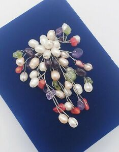 Artisan Handmade Natural Pearls & Gemstone Chips Spray Wired Brooch