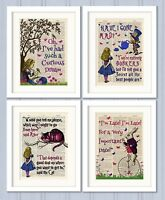Set of 4 Alice in Wonderland Antique Book page Art Prints A4-Nursery Set 3 Pink