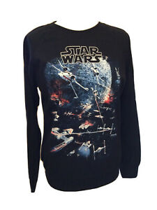 DISNEY Star Wars Black Sweatshirt U.K. Medium Death Star Pattern BNWTS T1684