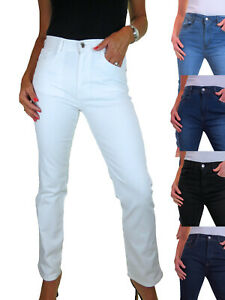 Ladies Casual High Waisted Straight Leg Very Stretchy Denim Jeans 8-22
