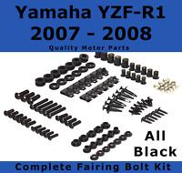 Complete Black Fairing Bolt Kit body screws for Yamaha YZF R1 2007 - 2008