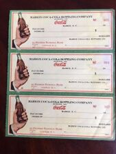 "1930's Coca-Cola, ""Un-Used"" Sheet of (3) Checks (Rare) Bottle in Hand Logo"