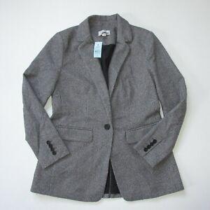 NWT Ann Taylor LOFT Petite Boyfriend Blazer in Gray Black Houndstooth Jacket 6P