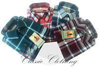 Mens Tom Hagan Check Work Shirt Long Sleeve Pocket Outdoor Wear 100% Cotton