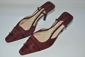 BURGUNDY SUEDE CHANEL SLINGBACK SHOES SIZE 37 Pums Heel