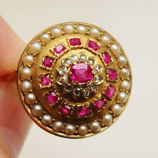 Fine Antique Victorian 9ct Gold Diamond Ruby & Pearl Ring c1880; UK Size 'P 1/2'