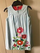 Preloved Mini Boden Girls Blue Cotton Summer Sleeve Dress Age 2-3