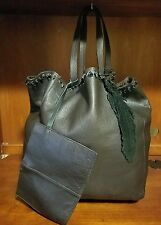 ZARA WOMAN Brown Soft Grain Leather Shopper Shoulder Bag With Leather Pouch