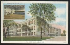 Postcard NEW ALBANY Indiana/IN  High School Campus Building/Gym Dual view 1920's