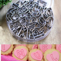 26X Biscuit Cake Mold Cutters Letters Alphabet Shapes Moulds Fondant Cookie FO
