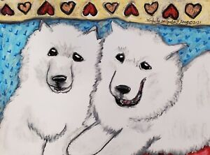SAMOYED Furever Friends 4x6 ART PRINT of PAINTING BY Kimberly Helgeson Sams