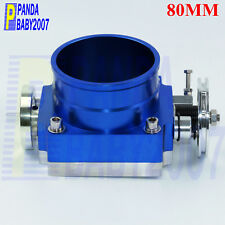 "UNIVERSAL 80MM FLOW BILLET ALUMINUM THROTTLE BODY INTAKE MANIFOLD 3.15"" BLUE"