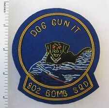 802nd BOMB SQUADRON US AIR FORCE Bullion DOG GUN IT PATCH Post WW2 Hand-Made