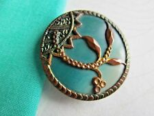"""6154 – Large Beautiful Turquoise Victorian Celluloid Button, Brass OME, 1-5/16"""""""