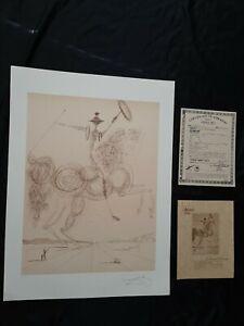 """Salvador Dali """"Le Chevalier"""" Don Quixote Hand Signed Lithograph 165/200 w/ COA"""