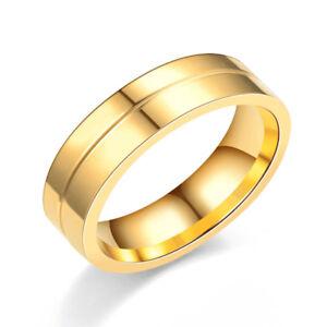 18K Gold Plated Couple Ring Men/Women Lovers CZ Titanium Steel Wedding Band 5-14