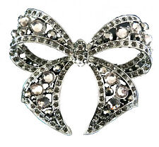 LARGE SMOKE DIAMANTE BOW SCARF PIN / BROOCH