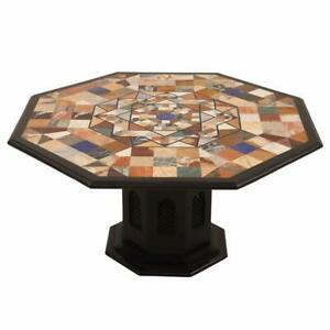 """48"""" marble dining Table Top semi precious stones inlay with marble stand"""