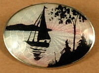 VINTAGE GUILLOCHE ENAMEL SAILBOAT SILHOUETTE STERLING SILVER PIN 925